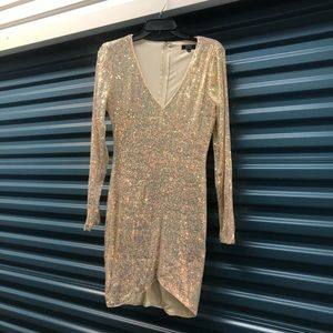 Cream and gold sequin dress